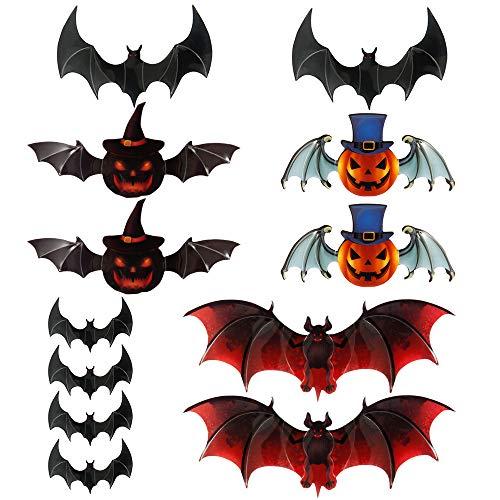JTWEB Fledermaus Aufkleber,Halloween 3D Fledermäuse Halloween Deko Wandaufkleber Dekoration Party Halloween Dekoration Party Wandbild Fenster Wanddekoration (12pcs #B)