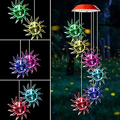 Mosteck Wind Chimes Outdoor Solar Wind Chimes Color Changing Sunflower Wind Chime Mobile Best Birthday Gifts for Mom Grandma or Housewarming, Decorative Romantic Patio Lights for Yard Garden Party