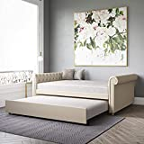 DHP Sophia Upholstered Queen Size Full Trundle, Tan Linen Daybed,