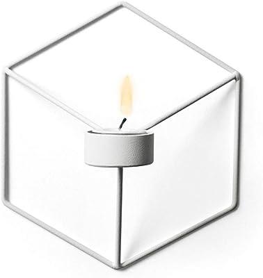 Creacom 壁掛け キャンドルホルダー 北欧スタイル 燭台 メタルレトロ 壁掛け式 ロウソク 蝋燭 花瓶 おしゃれ インテリア 装飾 ウォールデコレーショ 3D 芸術品 結婚式 フェスティバル パーティー (ホワイト)