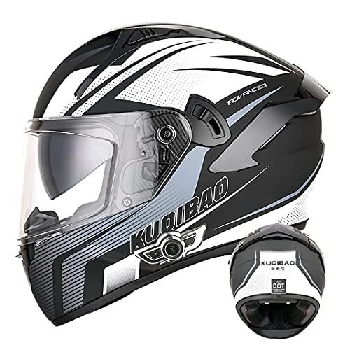 Bluetooth Integrated Motorcycle Full Face Helmet Crash helmet with Anti-fog Double sun visor D.O.T Motorbike Scooter Flip Up helmets for Adult Men Women (Grey arrow) (58~60cm L)