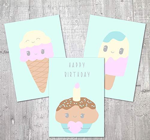 Karten Set | Eis | Grußkarten Set | Kinderzimmer Deko | Geburtstagskarte | Postkarten | Kindergeburtstag | Kinder | Baby