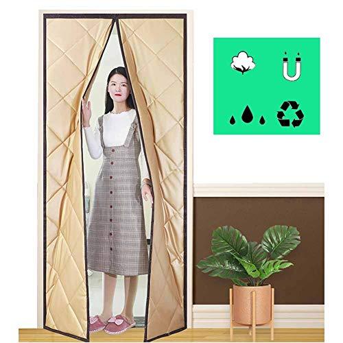 LJIANW Wärmeschutzvorhang Magnetisch Bildschirm Tür,Conditioner Heizungsraum,Küche Warm,Kaltluftgitter,Auto Closer,2 Panel 44 Größen (Color : Beige, Size : 95X210CM)