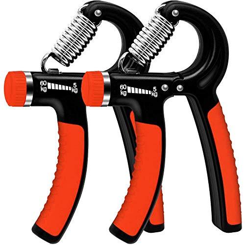 WeyTy 2er-Set Handtrainer, Hand Trainingsgerät Einstellbarer Widerstandsbereich 5-60kg Unterarm Krafttraining Schwer Handgelenk Fingerhantel Handmuskeltrainer (Rot)