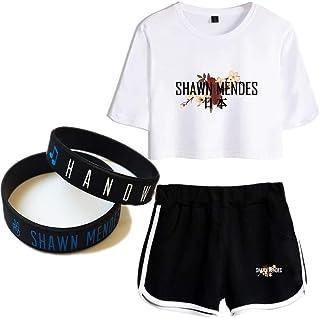 5b62846759022 Shawn Mendes T-Shirt Costume Bracelet Couple Cadeau Concert Tee La Musique  Manche Courte Chanteur