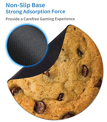 Round Mouse Pad and Coasters Set, Giant Chocolate Chip Cookie Mousepad, Anti Slip Rubber Round Mousepads Desktop Notebook Mouse Mat for Working and Gaming Photo #2
