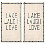 Lake Laugh Love Paper Hand Towels for Lakehouse Bathroom Guest, Disposable Decorative Napkins for Lodge Kitchen Buffet Table Dinner Party Reception, Trifold 3-Ply 32-Count