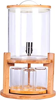 Glass Drink Dispenser on Wooden Stand with Airtight Bamboo Lid and Stainless Steel Spigot, BPA-Free Borosilicate Glass Mason Jar Water Pitcher for Hot/Cold Juice, Beer, Punch, Iced Tea (1.3 Gallon)