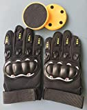 DreamFire Downhill Sliding Gloves for Longboard Skating, Skate Gloves with Sparking Yellow Slide Pucks and Adjustable Wrist Cuff