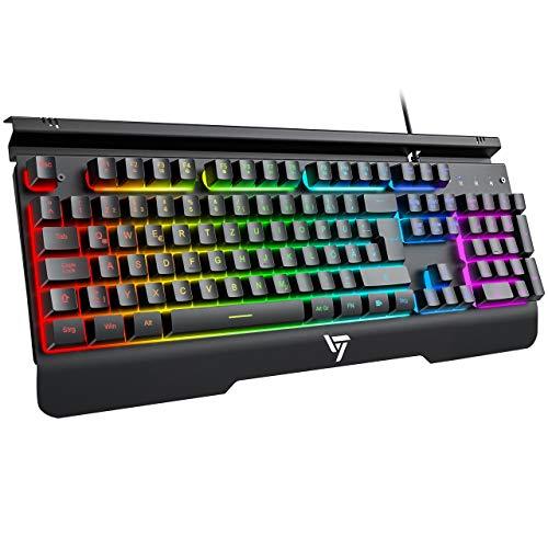Teclado RGB para gaming metálico con soporte para teléfono móvil, cómodo reposamuñecas, teclado retroiluminado ajustable, teclado USB, color negro