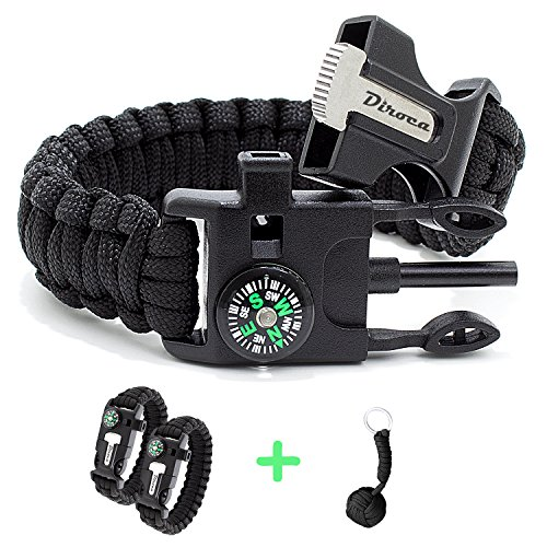 Paracord Bracelet Survival Kit | Black 550 Parachute Cord | 5 in 1 Tactical Set w/ Compass, Fire Starter, Knife, Whistle & Rescue Rope | Outdoor Emergency Gear | Waterproof | 2Pcs + Monkey Keychain