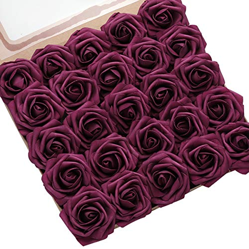 DerBlue 60pcs Artificial Roses Flowers Real Looking Fake Roses Artificial Foam Roses...