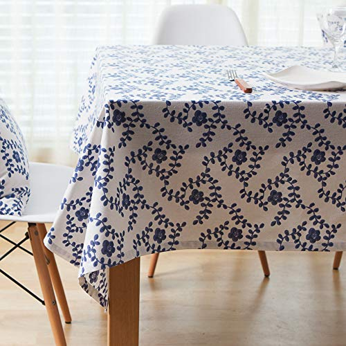 WEIFENG Mantel de Lino de algodón de Porcelana Azul y Blanca Mantel de jardín Mantel de Mesa de café Mantel de computadora Hojas de Parra 140 * 250