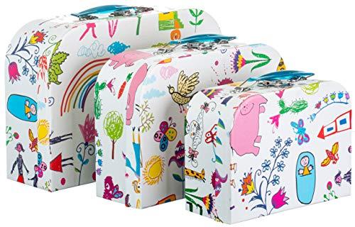 Brandsseller kindermotief, geschenkdoos, bewaardoos, koffer met handgreep, stevig karton, set van 3 in aflopende afmetingen