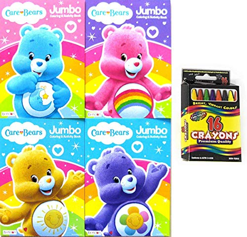 Care Bears 96-Page Jumbo Coloring and Activity Book Set with Crayons, 5-Pc Set