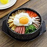 Ybzx Olla Caliente de Cocina Coreana para bibimbap y Sopa, Recipiente de cerámica de Primera Calidad con Piedra Coreana, Recipiente Mediano con Tapa, Negro, 16 cm (6 Pulgadas)