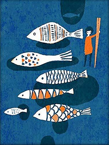 WFYY Pinte por Number Kit, DIY Pintura Al Óleo Dibujo Pescado Gratis Lienzo Colorido con Cepillos Decoración Decoraciones 40X50Cm Sin Marco