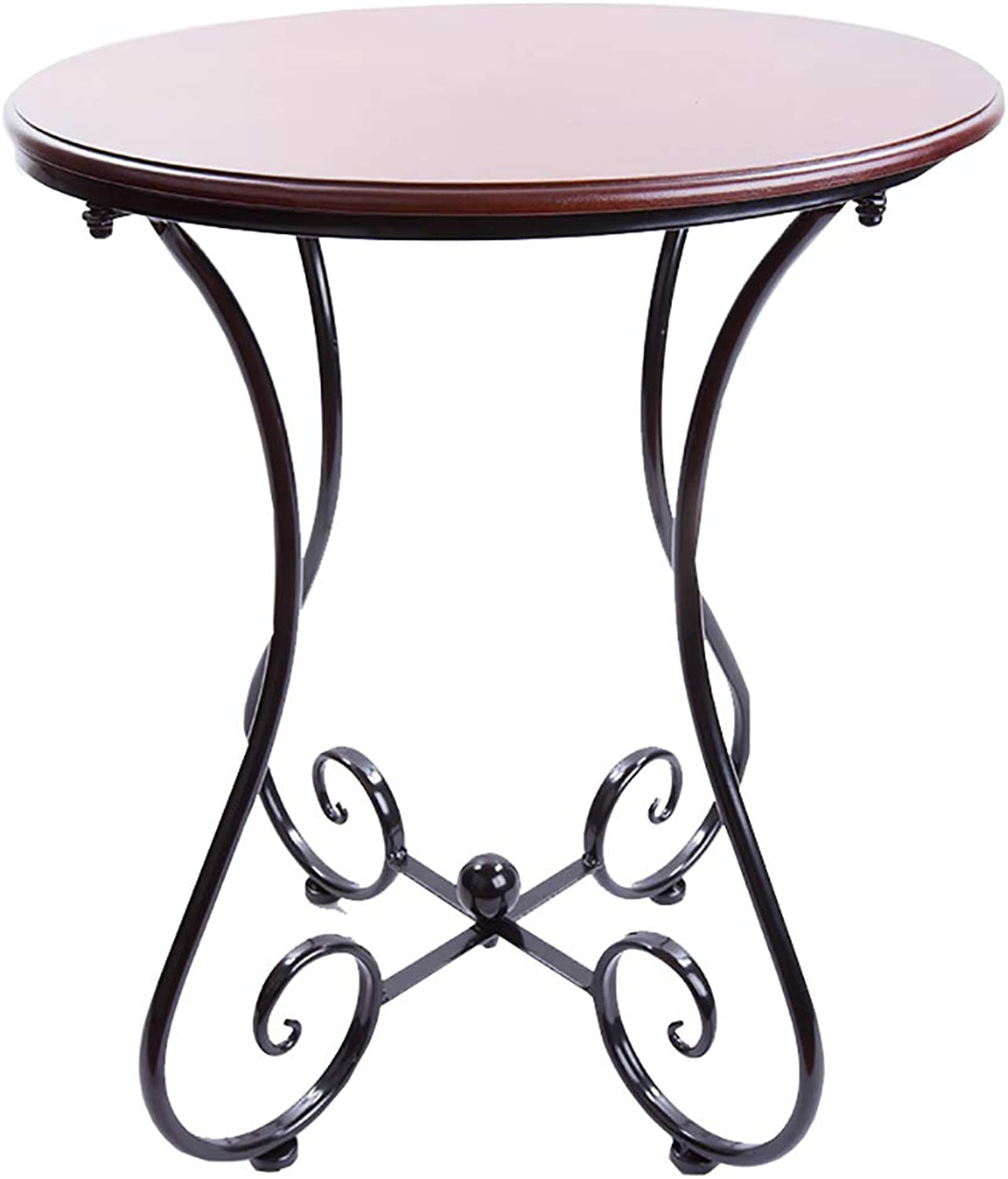 Round Coffee Table with Small Corners and a Few Telephone Tables with Metal Frame Easy Assembly Wood for Bedroom Parlor Enterprises Restaurant