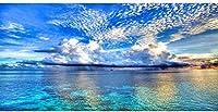 大人のためのDIY5Dダイヤモンド絵画キット青空フルドリル海ダイヤモンドアート絵画宝石アートクラフト家の壁の装飾ギフト-30X40CM