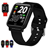 FromPRO Smart Watch Fitness Tracker Heart Rate Monitor/Blood Pressure/Oxygen Monitor,Fitness Watches for Women Men Kids,iOS&Android Smart Watch Activity Tracker Waterproof Step Tracker (Black, one)