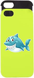 iPhone 5 or 5S Wallet Case Lime and Black Grinning Blue Shark