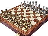 Staunton Juego de ajedrez plegable de madera de metal brillante dorado y plateado Piezas de ajedrez Tablero de ajedrez sólido Ajedrez profesional Juego de mesa de entretenimiento Juego de ajedrez para