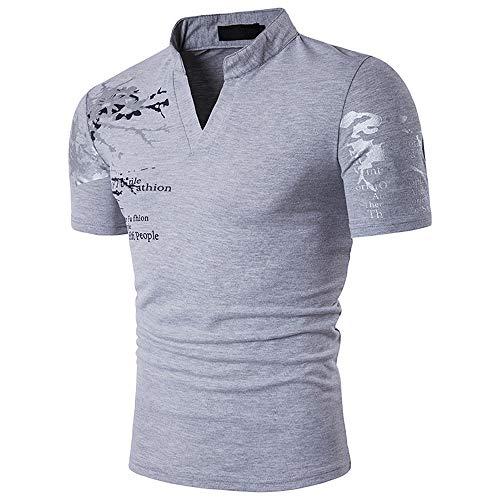 Adidase Poloshirt mit Stehkragen für Herren, Poloshirt mit Buchstabenaufdruck lässiges Kurzarm-Hemd,3,XL