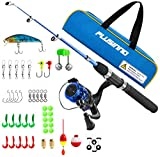 PLUSINNO Kids Fishing Pole,Light and Portable Telescopic Fishing Rod and Reel Combos for Youth Fishing (Black Handle with Box, 115CM 45.27In)