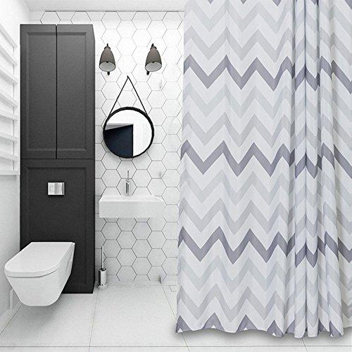 SUN-Shine Duschvorhang, Chevron-Muster, grau, weiß, gestreift, geometrische Badezimmerdekorationen, 183 x 243,8 cm, extra lange Badvorhänge