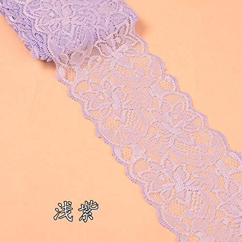 8cm elastische kant stof zwart wit beige bordeaux marineblauw roze rood blauw paars groen grijs kant trimmen DIY Crafts materiaal, licht paars