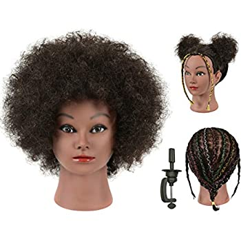 FUTAI 100% Human Hair Mannequin Head Kinky Curly Manikin Cosmetology Doll Heads for Display Practice Braiding Styling Training Coloring Bleaching Dyeing Curling Cutting Updos with Stand