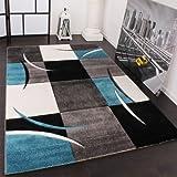 Paco Home Designer Teppich mit Konturenschnitt Karo Muster Türkis Grau, Grösse:80x150 cm
