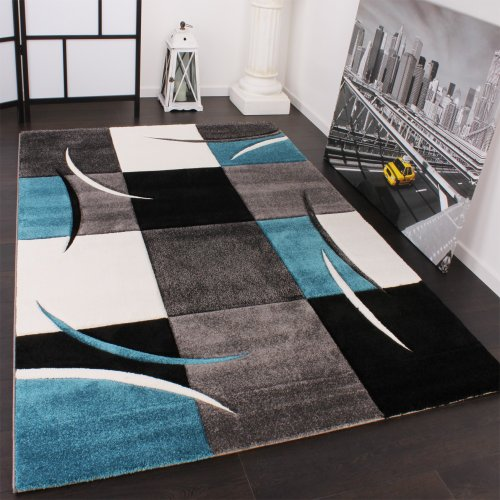 Paco Home Alfombra De Diseño Perfilado - A Cuadros En Turquesa Gris, tamaño:60x110 cm