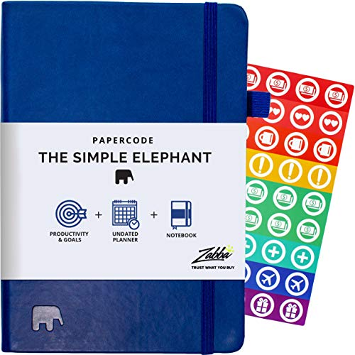 Simple Elephant Undated Planner 2020-2021 - Daily, Weekly, Monthly Planner & Notebook - High Performance Organizer for Productivity, Gratitude, and Focus - Journal & Agenda (Blue)