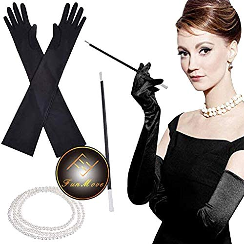 4Pcs Flapper Costume Fancy Dress 1920s Charleston Pearl Beads Necklace Cigarette Holder Long Black Satin Gloves Gatsby Accessories for ladies Women
