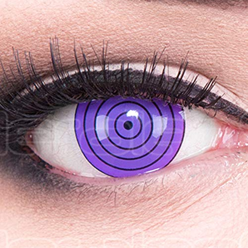 Meralens 1 Paar Farbige Anime Sharingan Kontaktlinsen Violet Rinnegan in lila perfekt zu Manga Hereos of Cosplay Naruto Halloween mit gratis Kontaktlinsenbehälter 12 Monatslinsen ohne Stärke
