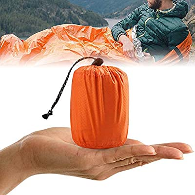 SEVICH Portable Emergency Sleeping Bag - Orange Lightweight Waterproof Windproof Survival Kits, Warm Emergency Blanket, Tinfoil Nylon Camping Bivy Sack for Outdoor Adventure, Hiking