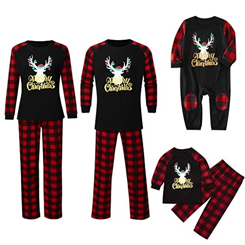Pyjama de Famille de Noël, Kolylong Ensemble Pyjamas Noel Famille Costume Plaid Christmas Sleepwear Père L/EU 46