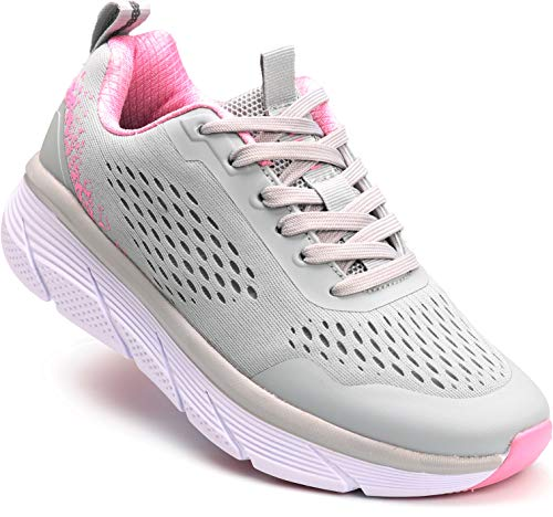 WHITIN Womens Running Shoes Runny Tennis Athletic Breathable Comfort Cushioned Cupportive Cute Flexible Mesh Classic Size 6.5 Long Distance Run Trail Runner Sneakers for Female Gray Pink
