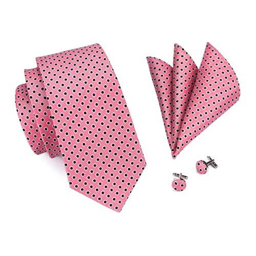 GPZFLGYN Set di cravatte Cravatta a pois rosa Set di gemelli Hanky Cravatta di seta per la festa dello sposo da uomo
