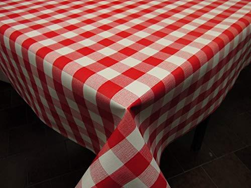 HuleHule Mantel de Hule con Estampado de Cuadros. Colores a Elegir. Composición Superior 100% PVC y Base de algodón (Rojo, 100_x_140_cm)