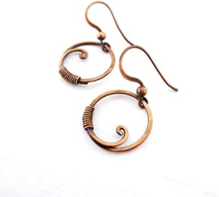 Small Wire Wrapped Circle Solid Copper Earrings