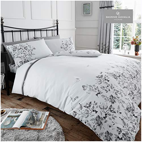 Gaveno Cavailia Tapestry Floral Duvet Cover Quilt Set With Pillow Case, Reversible, Poly Cotton, Maria Grey, King Size Bedding, Polycotton