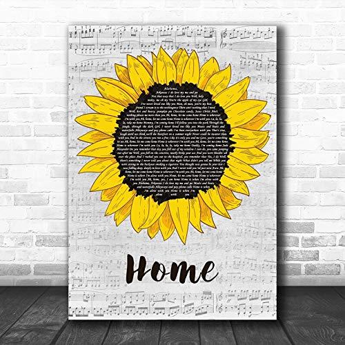 Edward Sharpe The Magnetic Zeros Home Grey Script Sunflower Song Lyric Music Art Print Print Wall Decor Art Gifts Lovers Poster