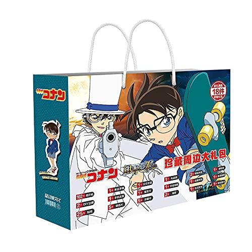 FUYUNLAI Detective Conan; Estuche Serie Cerrada/Conan Edogawa/Juego de Caja de Regalo de Anime/Periferia de Anime/con póster/Postal/Pegatina/Marcador/Tarjeta de felicitación/Insignia