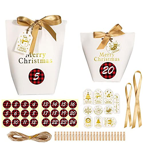 【BEAUTY PLAYER】ギフトボックス キャンディーボックス 24セット ステッカー、タグ、クリップ、リボンが付属しています クリスマス お菓子 ラッピング ギフトラッピング クリスマス プチギフト 個包装 クリスマス チョコレート クッキー キャン