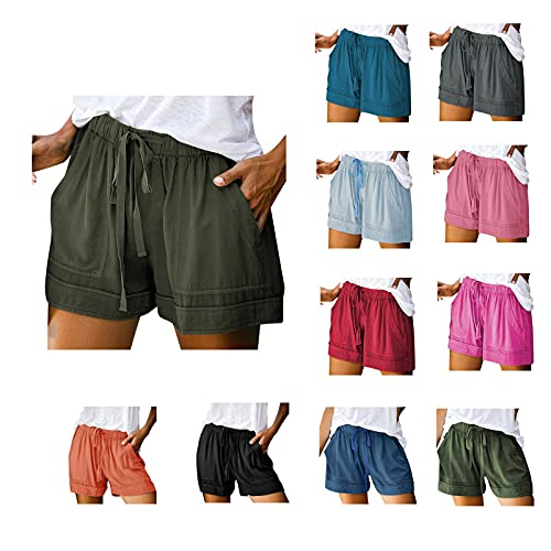 COMVALUE Womens Shorts for Summer,Women's Casual High Elastic Waist Drawstring Wide Leg Flowy Culottes Shorts Short Trousers Army Green