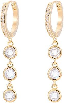 Circle Cubic Zircon Crystal Earrings For Women Girls To Friend Birthday Mother's Day Gift Silver/Gold/Rose Gold Plated style 2