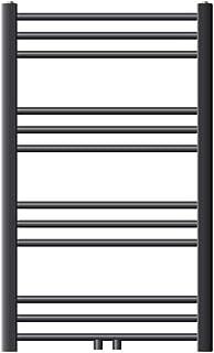 ECD Germany Sahara Radiador toallero - 600 x 800 mm - Antracita - curvado con conexión central - Radiador de toallas para baño agua calefaccion