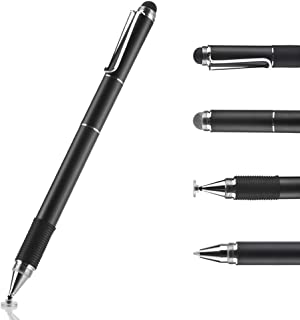 Stylus Pen for Touch Screens Devices, Digital Pen, Frishare 4-in-1 Universal Capacitive Stylus with Ink Ballpoint Pens& Disc& Fiber& Mesh Tip, Compatible with iPhone, iPad, Tablets and More-Black